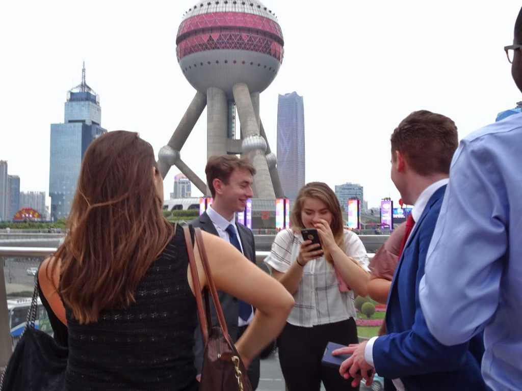 Savannah Watson interning in Shanghai a the pearl tower in Lujiazui