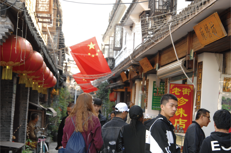 British Council Generation UK intern Hollie and CRCC Asia Program Manager Tsu stroll around Zhujiajiao water town in Shanghai