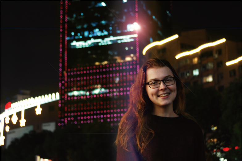 British Council Generation UK and CRCC Asia intern Hollie stands in central Shanghai