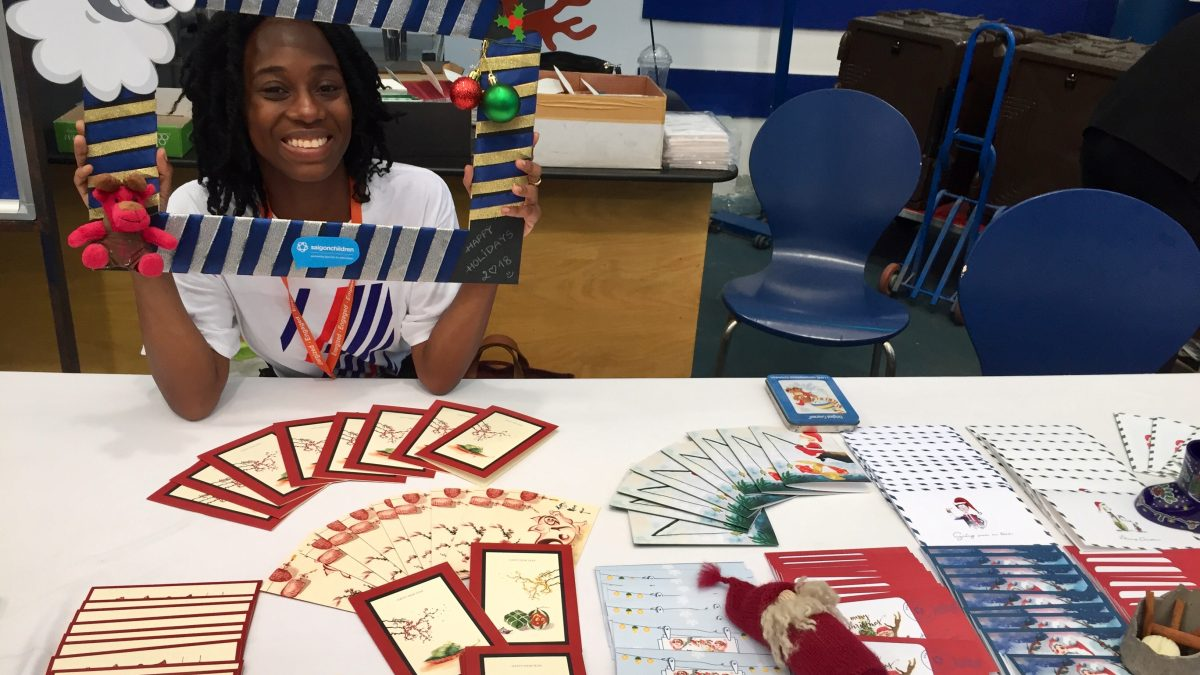 Stersha from the CRCC Asia Program helps to fundraise at the Saigonchildren's Christmas Bazaar