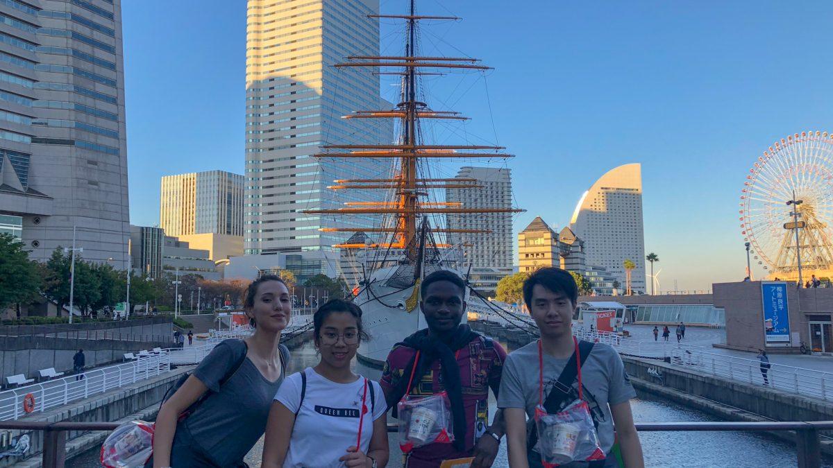 what to do when interning in Japan. Four-internship-friends-in-Japan-yokohama
